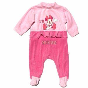 Disney Pink Velour Minnie Mouse Footed One Piece